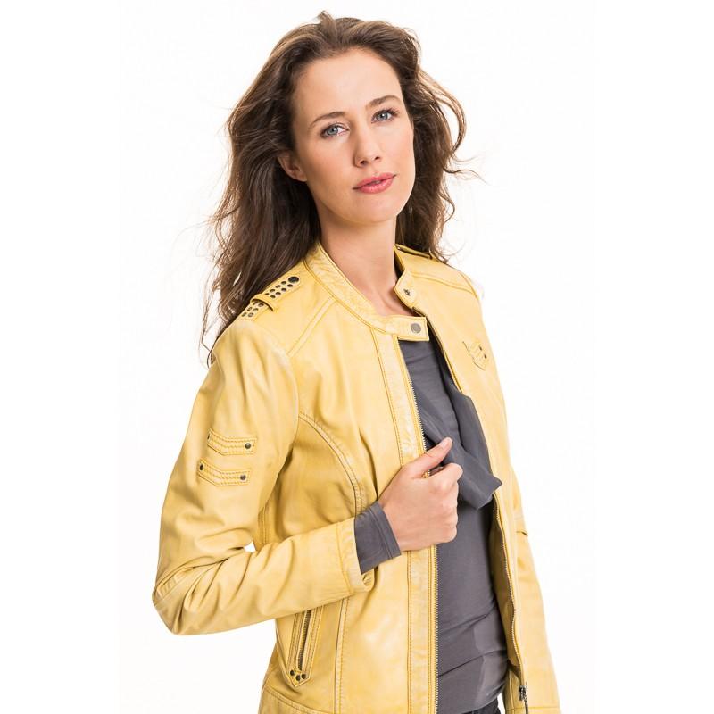 kožená bunda žltá, 160,00 €