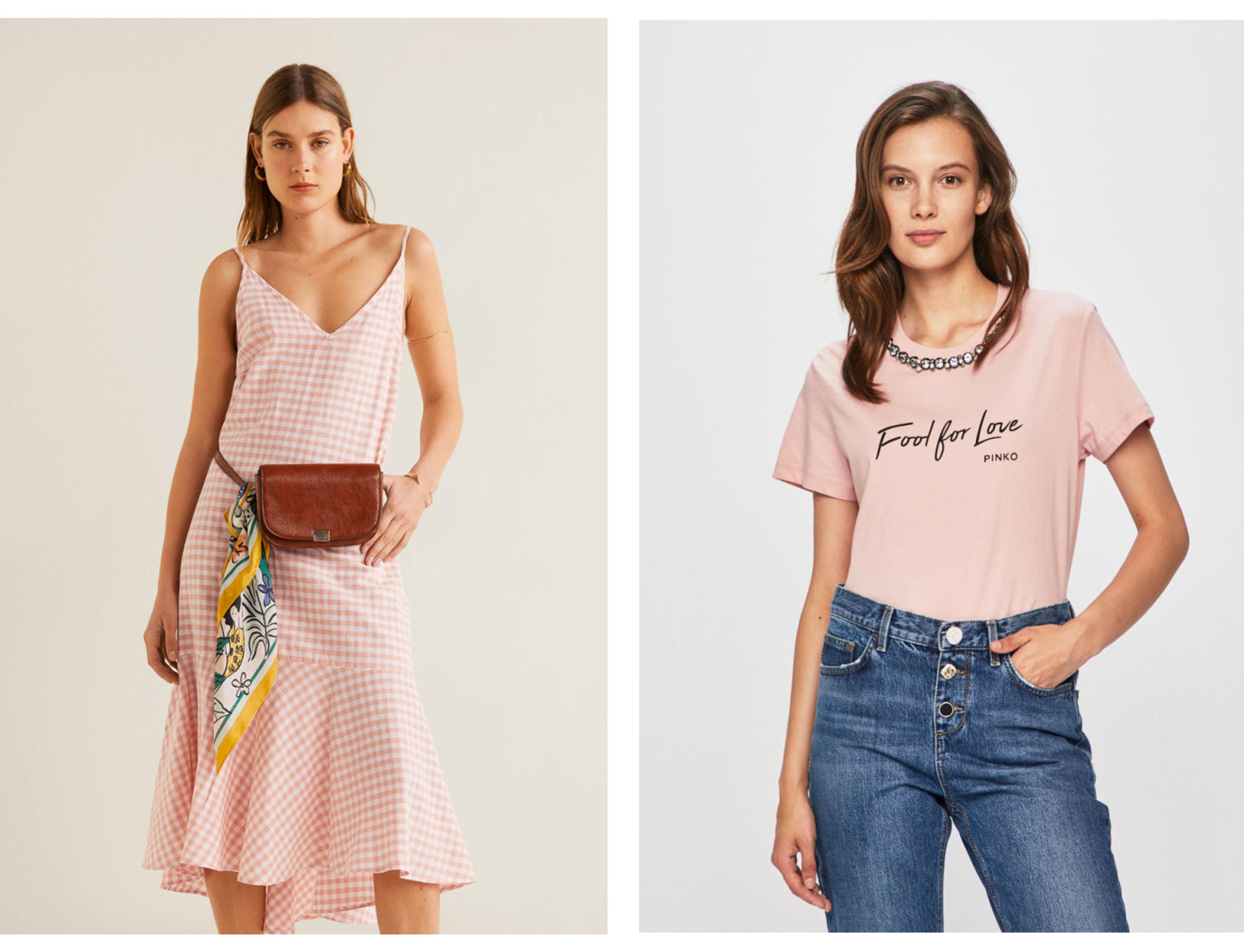 Ružové šaty–VILA, answear.sk _ Ružové tričko–PINKO, answear.sk