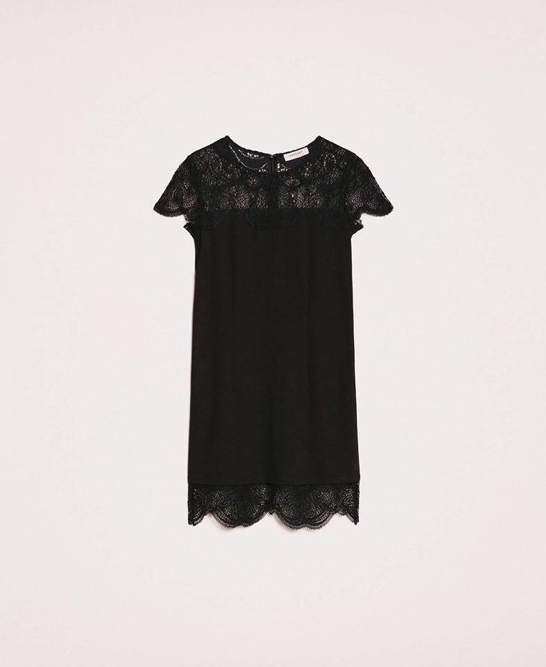 Twinset, čierne šaty s krajkovým lemom