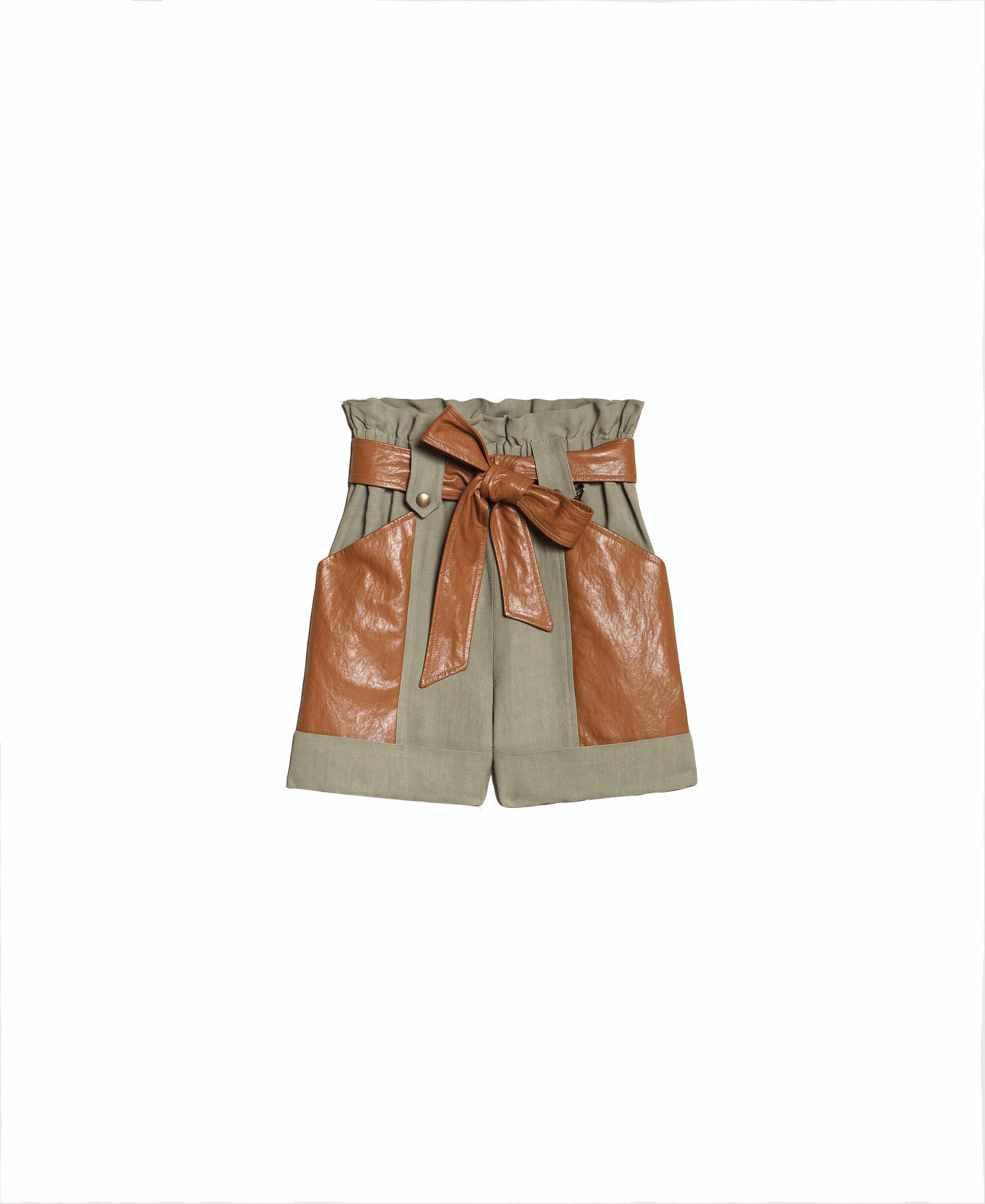 Twinset, šorky s koženými detailmi