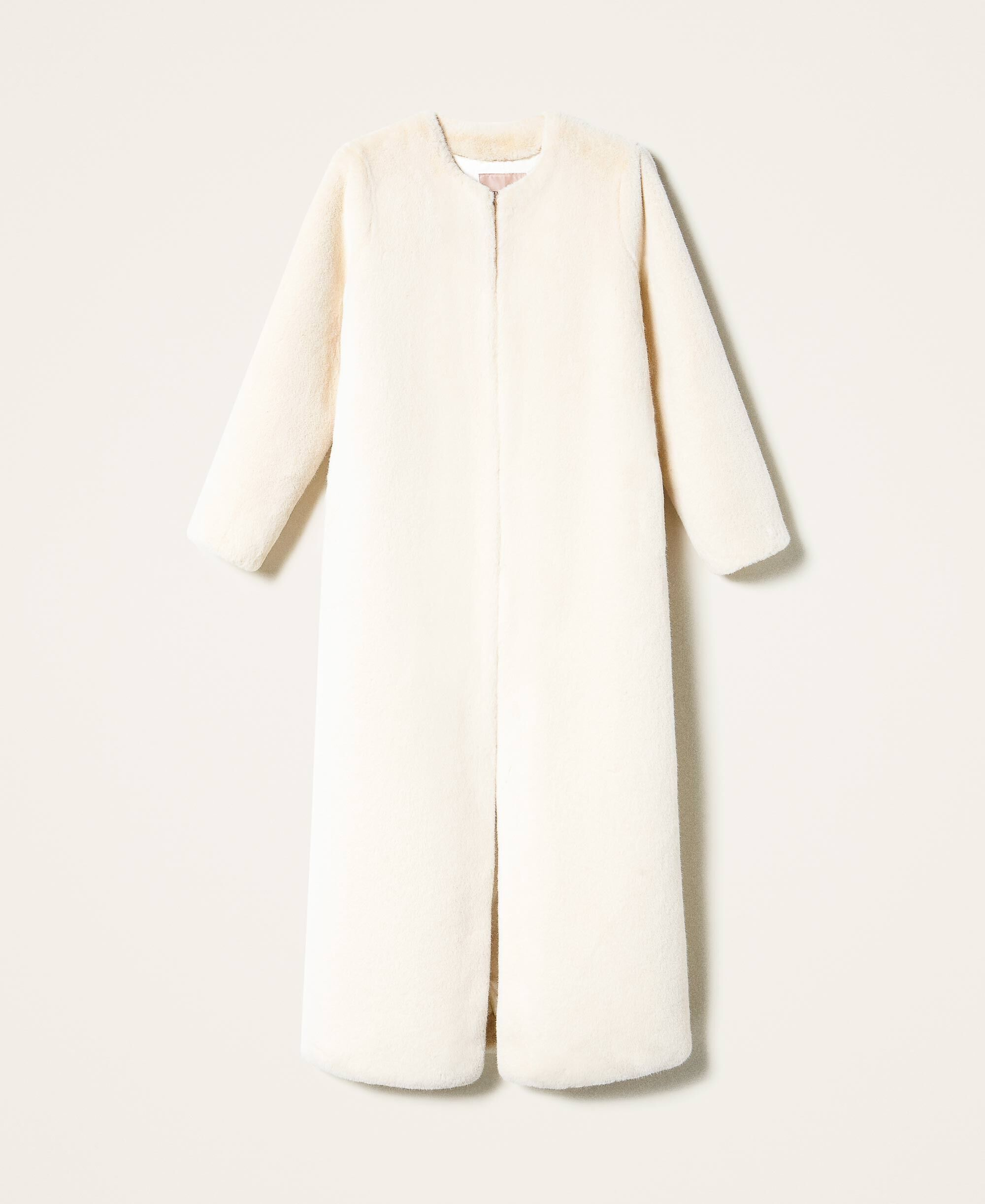 Twinset, teddy coat,biely